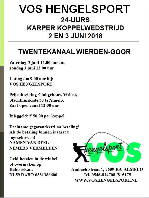 Karper koppelwedstrijd 2 en 3 juni 2018